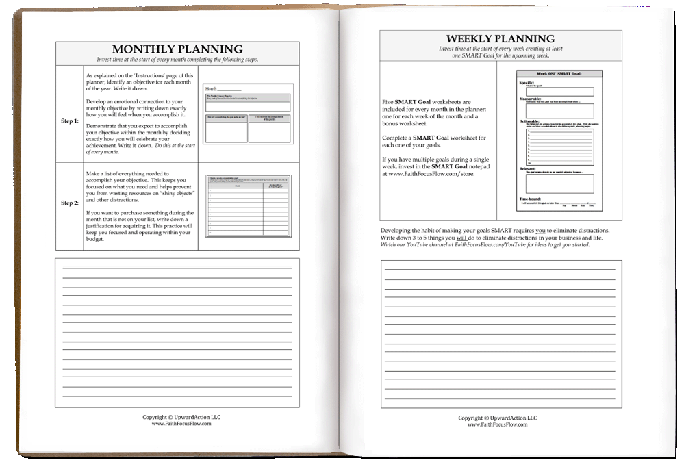Smart Goal Daily Planner Preview Faith Focus Flow. Check Out A Few Pages From Our Popular Smart Goal Daily Planner. Worksheet. Daily Goals Worksheet At Clickcart.co