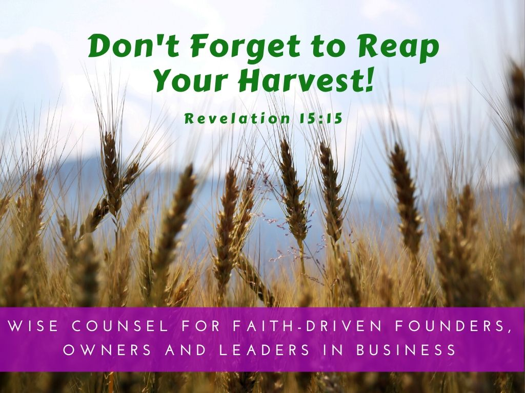 Don't Forget to Reap Your Harvest